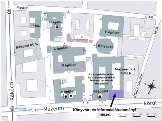 elte térkép ELTE BTK Könyvtár  és Információtudományi Intézet elte térkép